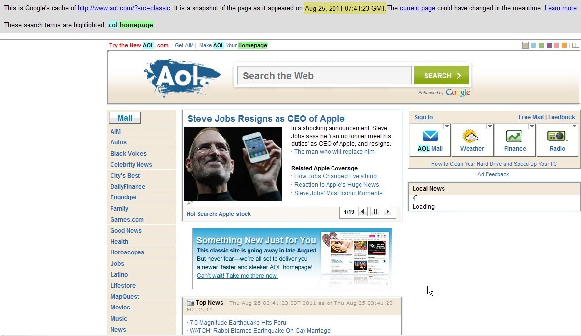 Wow, Internet: hi  Yes indeed: AOL's Classic home page is gone again