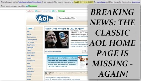 AOL Classic home page: missing in action - again!