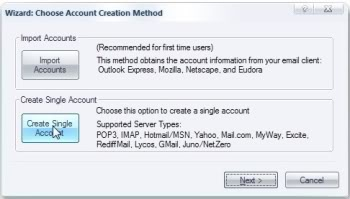 Click 'Create Single Account'.