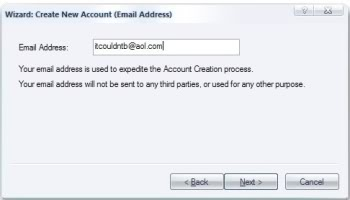 Type in the address of the email account you wish to import.