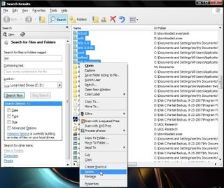 Looking for AOL files and folders in Explorer