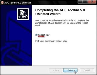 When the dialog box opens, click 'Reboot now' so you can remove files and folders associated with the AOL Toolbar.
