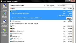 Click Start, click Control Panel, find AIM Pro, click 'Remove'. Click to expand all shots.