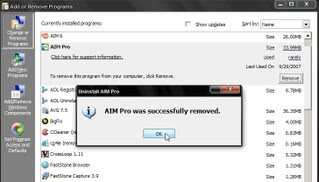 Now you'll see the message: 'AIM Pro was removed.' You don't need to restart your PC.
