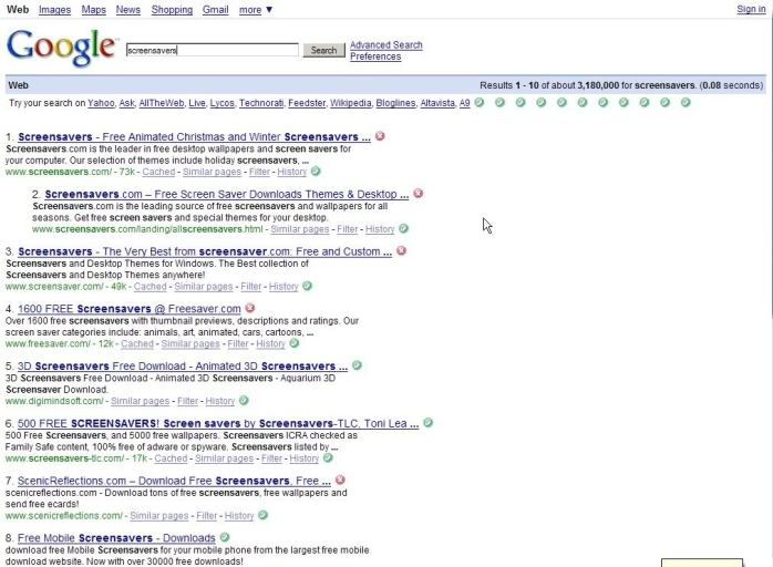 AOL's Google-powered, infected search results.