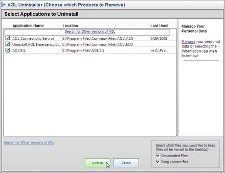 Click Uninstaller, select AOL versions to remove, select files to keep, click 'Uninstall'.