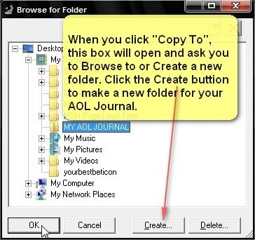 Select folder to copy files to, or click 'Create' for a new one.
