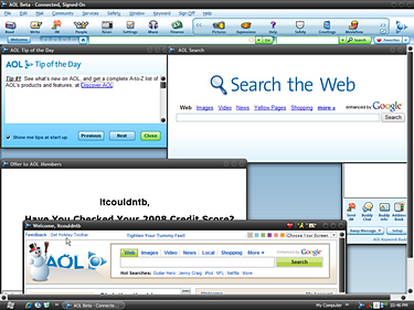 An AOL Classic: The messy interface.
