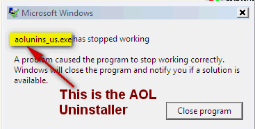 'AOL has stopped working' error message.