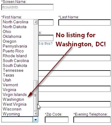 No listing for Washington, DC on AOL's online cancel form