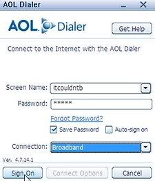 Aol dialer keeps popping up