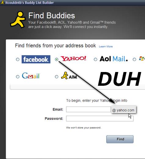 AOL doesn't allow rocketmail.com buddy imports