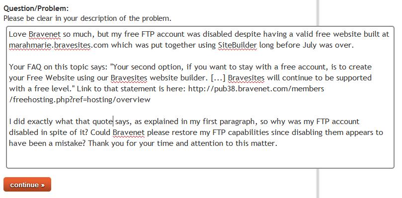 My letter to Bravenet