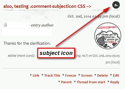 DW subject icon alongside comment title