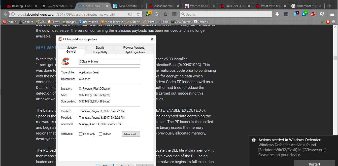 Signalbost: CCleaner has been hacked