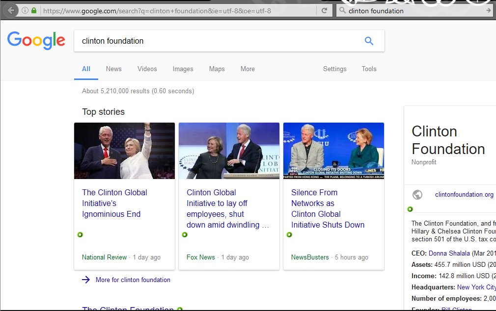 Google lets SEO experts employed by right-wing websites hack their search results - a picture of Google's search results for [clinton foundation] being hacked by SEO experts]