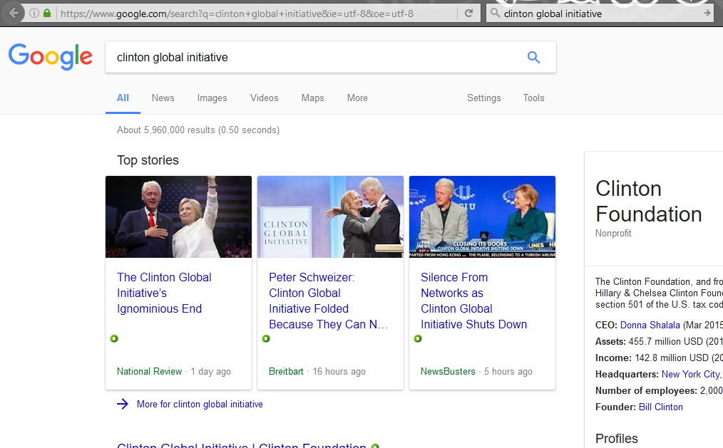 Google lets SEO experts employed by right-wing websites hack their search results - a picture of Google's search results for [clinton global initiative] after being hacked by SEO experts]