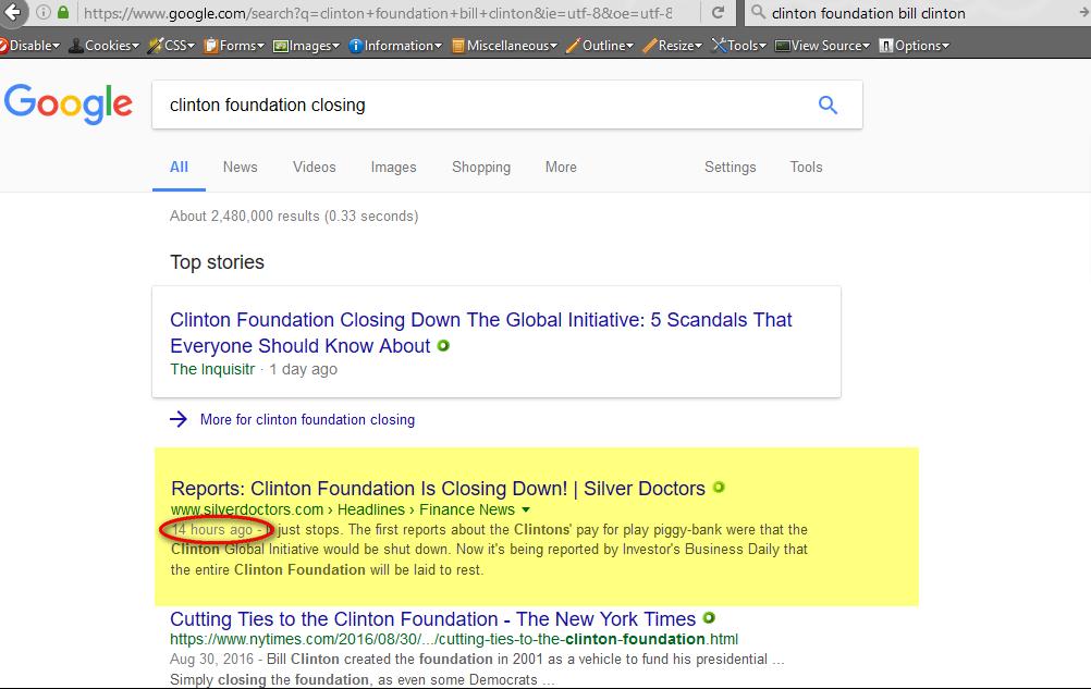 Search term: clinton foundation closing, 1-22-2017
