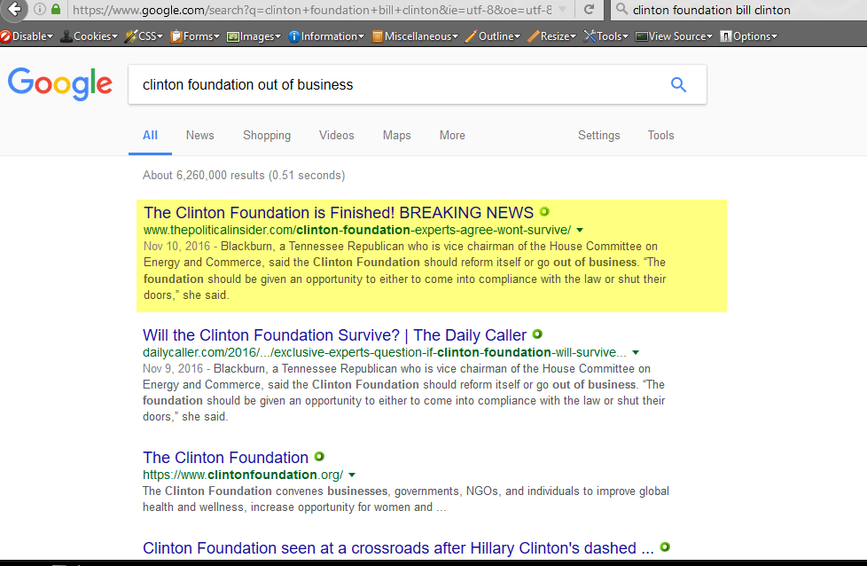 Search terms: clinton foundation out of business, 1-20-2017