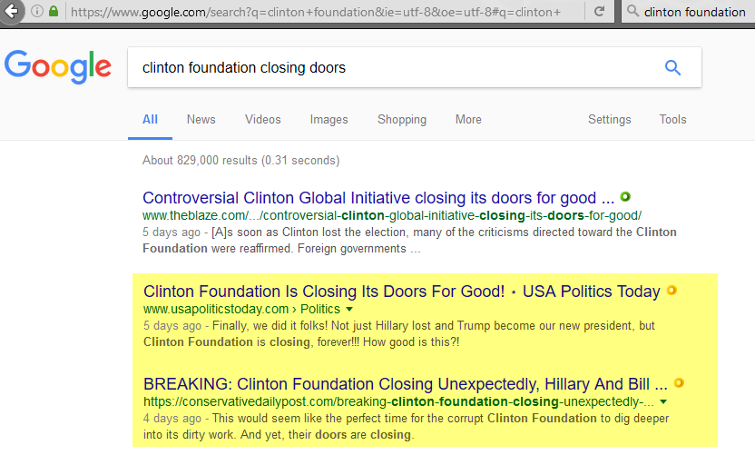 Search term: clinton foundation closing doors, 1-20-2017
