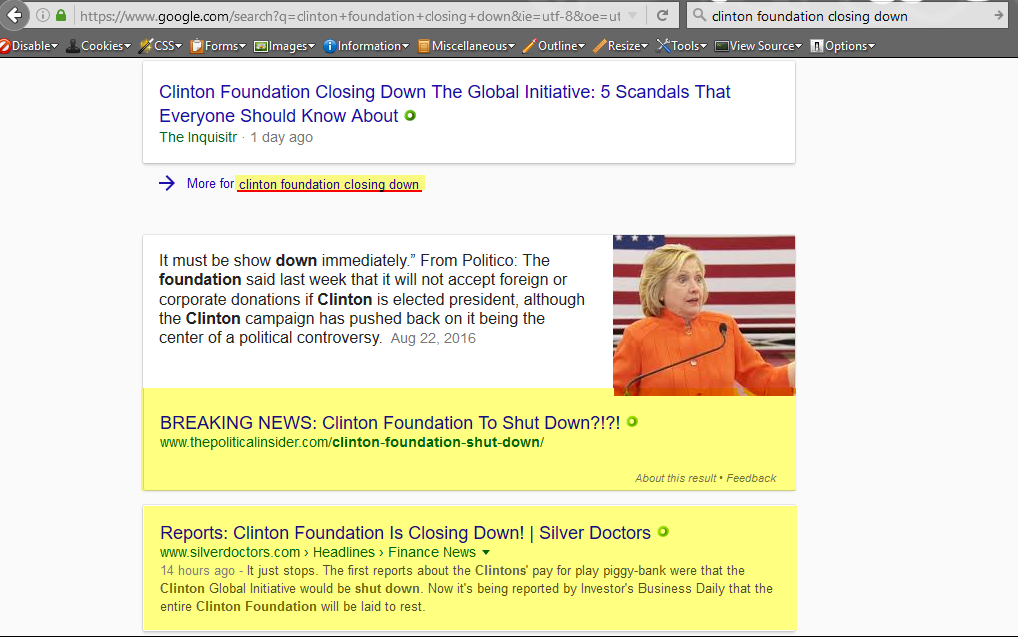 Search term: clinton foundation closing down, 1-22-2017