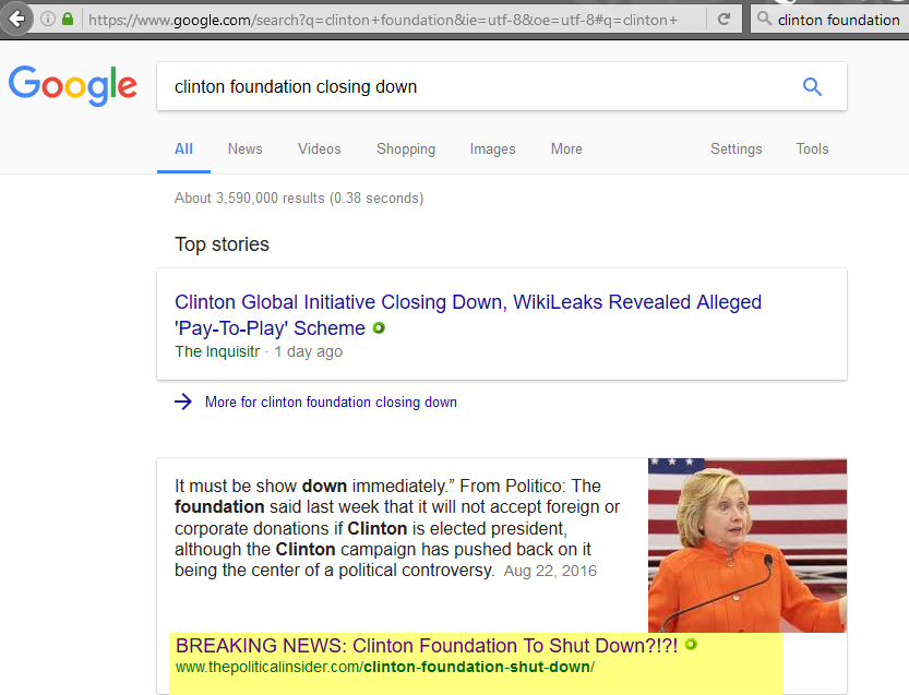 Search term: clinton foundation closing down, 1-20-2017