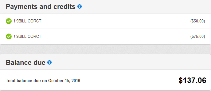 A screencap of Comcast's website showing $75 and $50 credits given to me during 10-2016