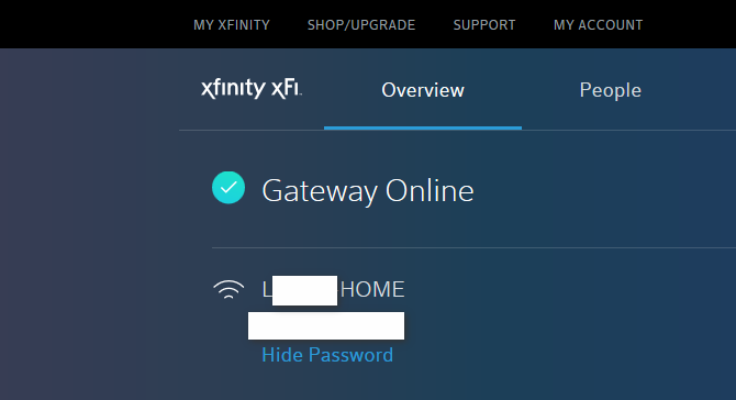 Instead of seeing our wifi broadcast name and password, I saw info belonging to someone else on our Comcast account page