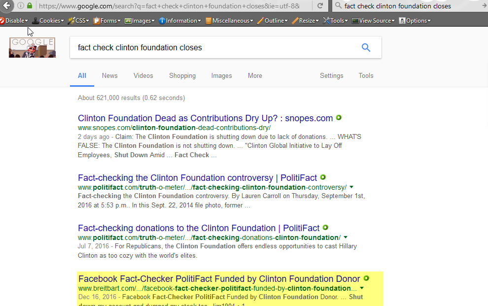 Search term: fact check clinton foundation closes, 1-22-2017