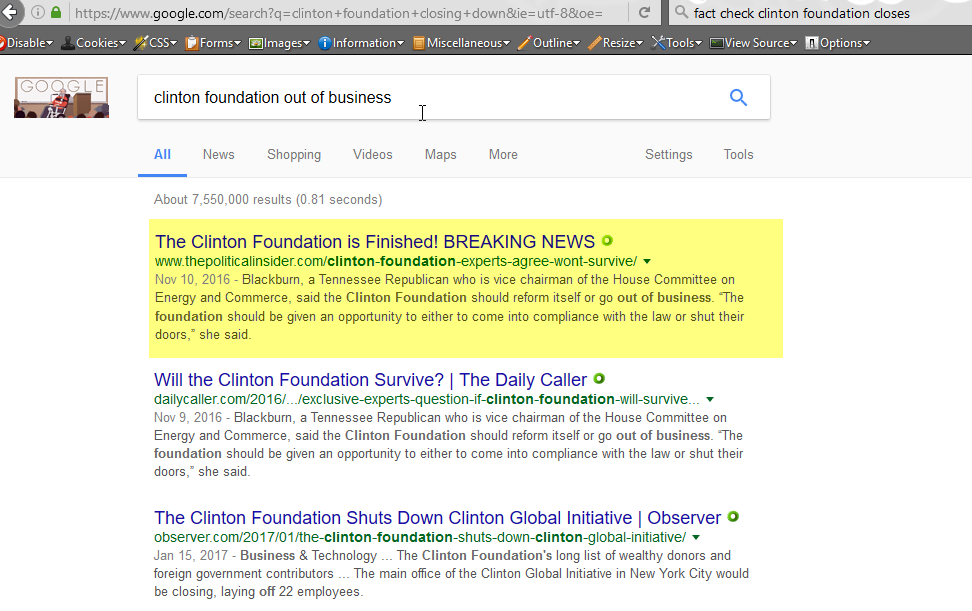 Search terms: clinton foundation out of business, 1-23-2017