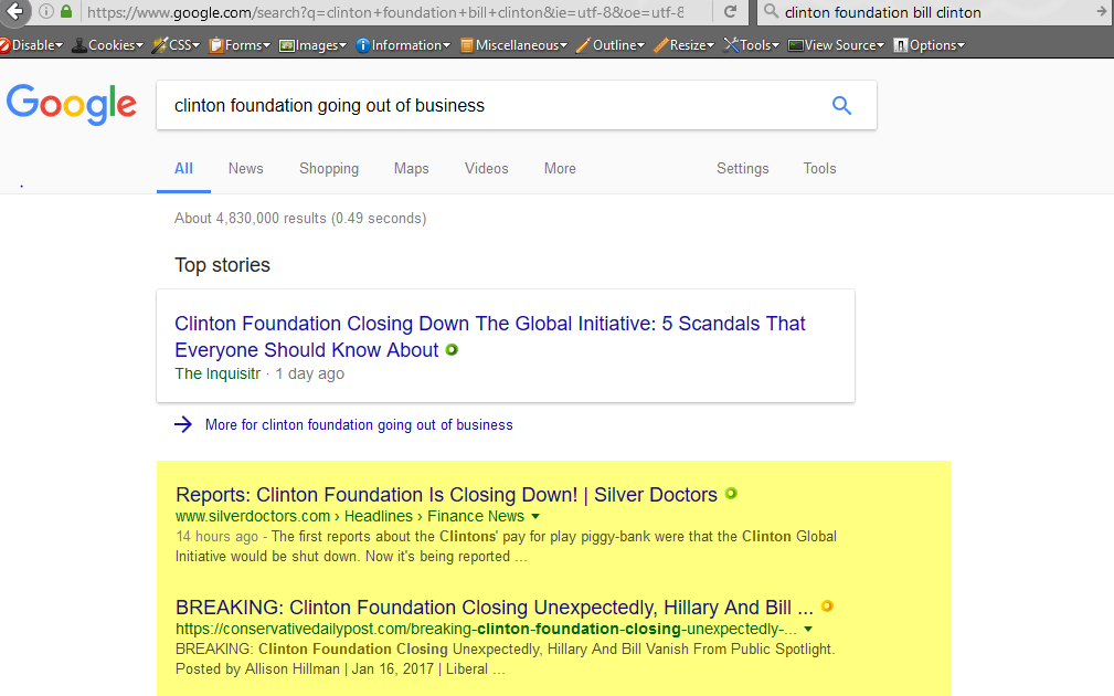 Search term: clinton foundation going out of business, 1-22-2017