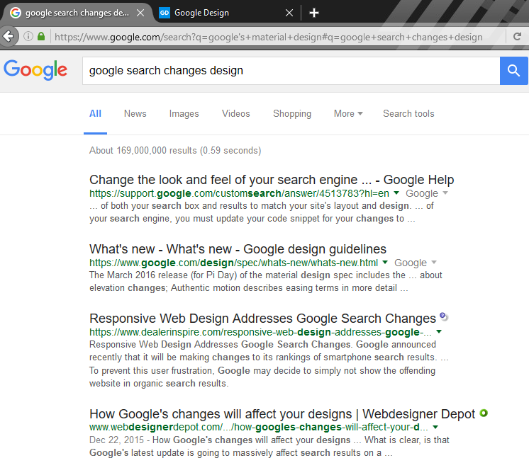 Google with green and black fonts, top half of page