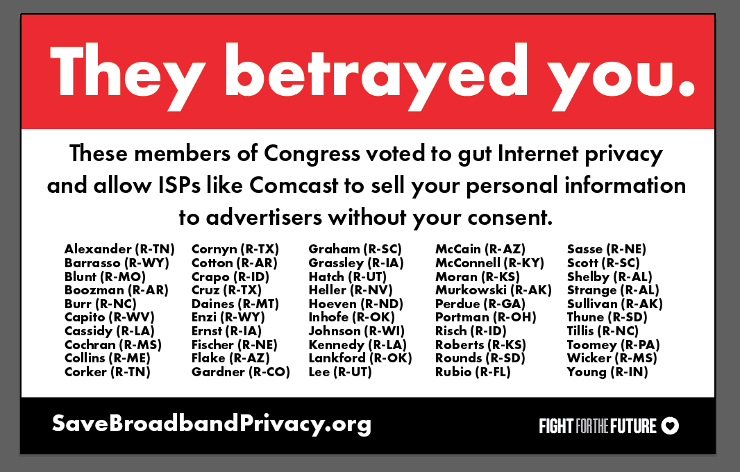 They betrayed you - FFTF's mock-up billboard showing names of House reps who voted against your online privacy