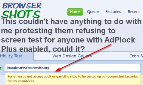 Sorry, we do not accept adult or gambling sites to be tested on our screenshot factories run by volunteers