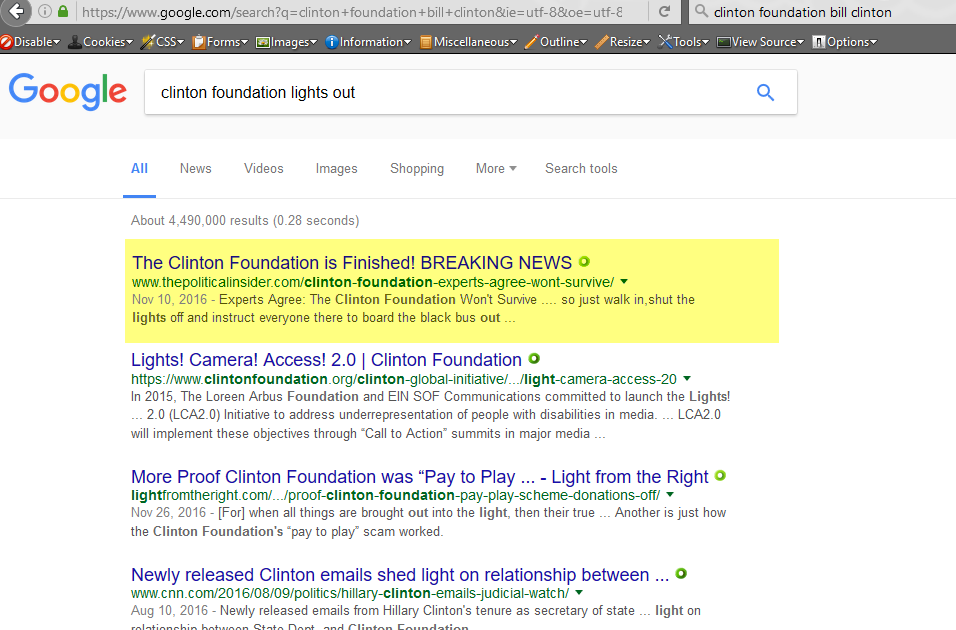Search term: clinton foundation lights out, 1-22-2017