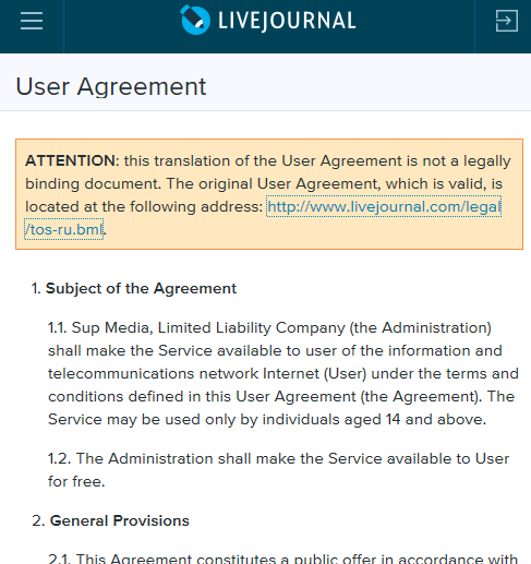 Screencap of LiveJournal TOS not valid in English warning on English TOS page, 4-5-17