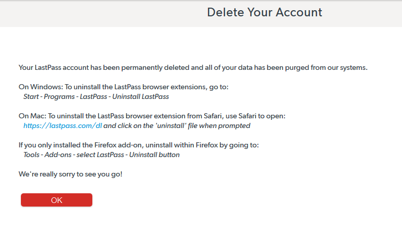 Page confirmation after deleting LastPass tonight