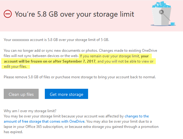 An email from Microsoft informing me I'll be denied access to my OneDrive files on Sept. 7, 2017