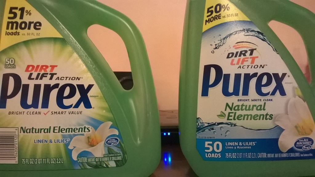 Is it 50% or 51%? Let's ask Purex! Two identical bottles of Purex side by side; one says 50% more, one says 51% more. Which is it? Click to embiggen