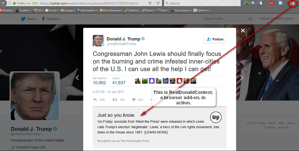 RealDonaldContext browser add-on in action right on Donald Trump's Twitter page