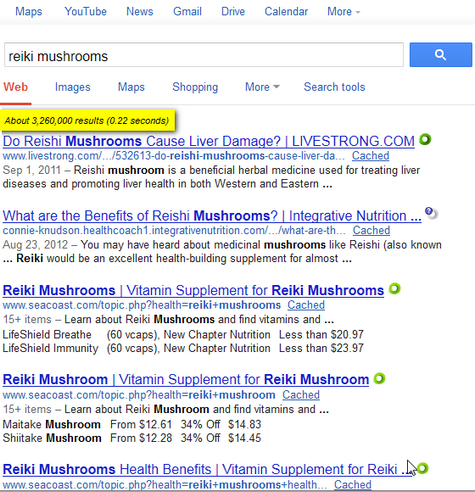 [reiki mushrooms] without misleading search suggestion