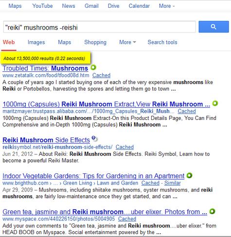 ['reiki' mushrooms -reiki] search 'with quotes'