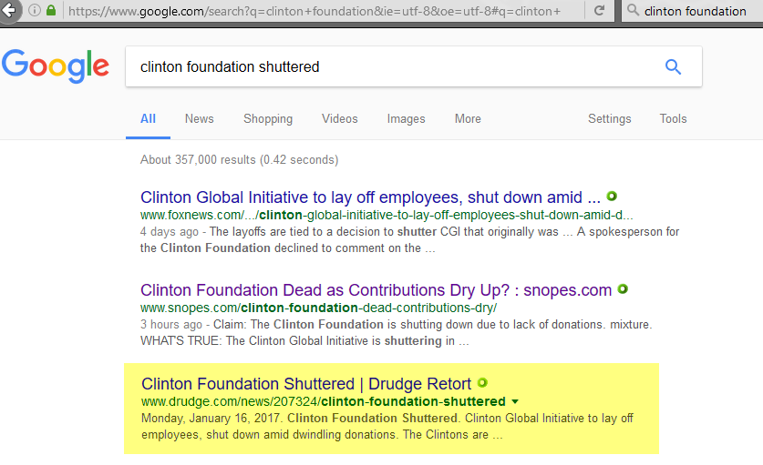 Search term: clinton foundation shuttered, 1-20-2017